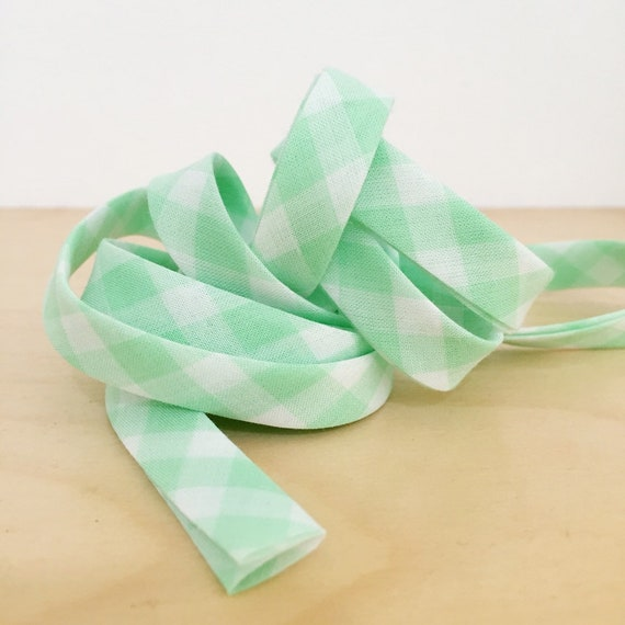 "Bias tape in light green gingham check plaid lightweight cotton lawn 1/2"" double-fold binding- 3 yard roll"