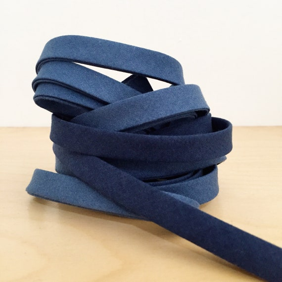 "Bias Tape- Cotton + Steel Pigment Gradients Ombre cotton 1/2"" double-fold binding- Navy blue- 3 yard roll"
