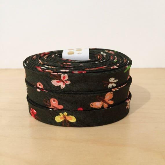 "Bias Tape in Heather Ross Tiger Lily Butterflies 1/2"" double-fold binding- Butterfly print- 3 yard roll"