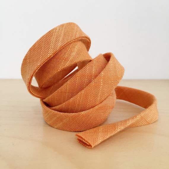 "Bias Tape- Kaufman Manchester Yarn-Dyed Orange Chambray 1/2"" Double-fold Cotton binding- Tangerine/Pumpkin/Peach- 3 yard roll"
