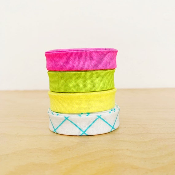 "Bias Tape Neon Remnant Pack- 4 different cotton designer fabric 1/2"" double-fold bindings"