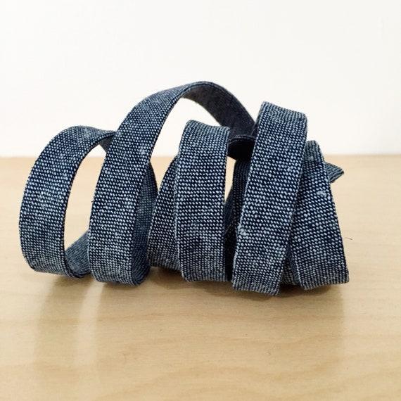 "Bias Tape- Robert Kaufman Essex Yarn-Dyed Nautical Chambray 1/2"" double-fold binding- 3 yard roll"