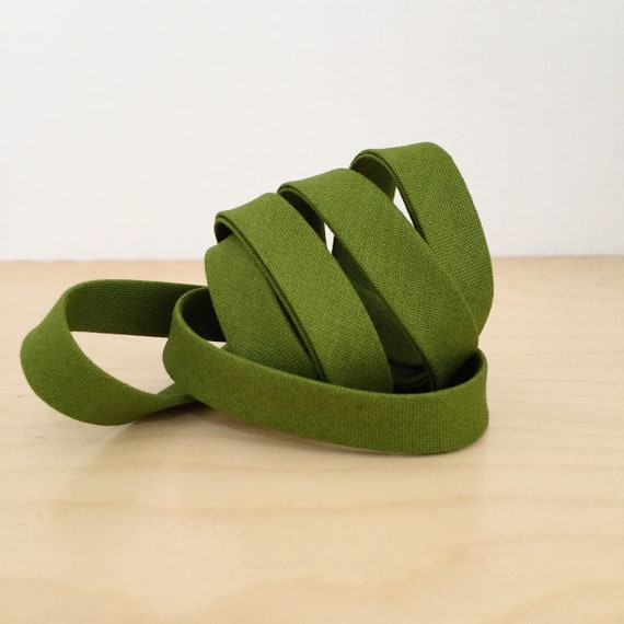 """Bias Tape- Cotton Supreme Solids Martini Olive 1/2"""" double-fold cotton binding- army green- 3 yard roll"""
