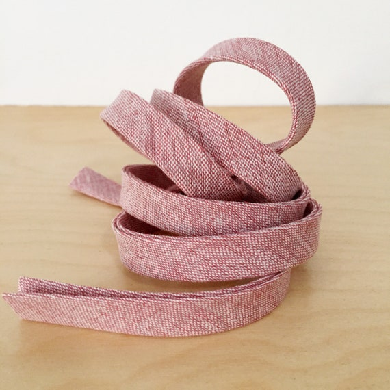 "Bias Tape- Robert Kaufman Essex Yarn-Dyed Linen Chambray in Berry 1/2"" double-fold binding- 3 yard roll"