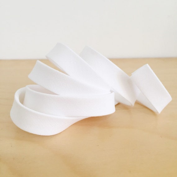 "Bias Tape in Kona White cotton 1/2"" double-fold binding- Pure bright white- 3 yard roll"