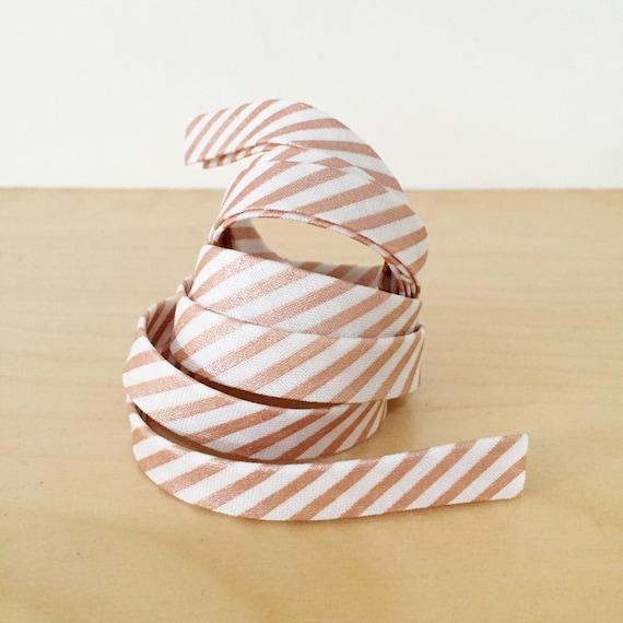 "Bias tape in Riley Blake Rose Gold Metallic Stripe Cotton- 1/2"" Double-fold binding- 3 yard roll"