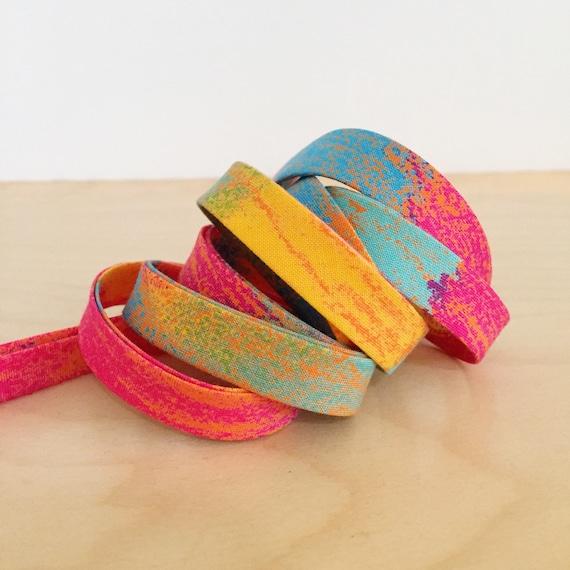 "Bias Tape- Yuwa Cotton Candy rainbow print cotton 1/2"" double-fold binding- Japanese print- 3 yard roll"