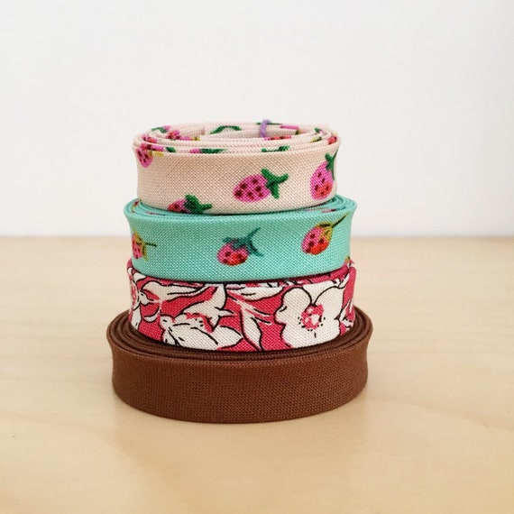 "Bias Tape Remnant Pack- 4 different cotton designer fabric 1/2"" double-fold bindings"