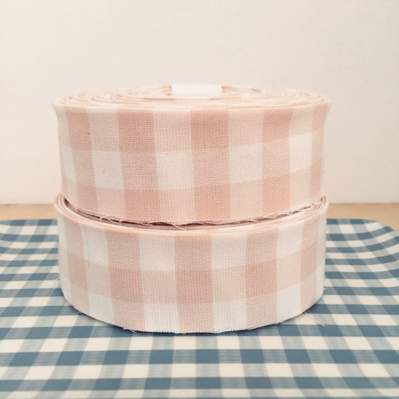 "Blush pink and white gingham check Quilt binding- 1.25"" double-fold cotton"