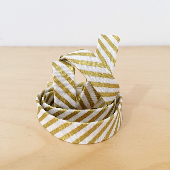 "Bias tape in Riley Blake Gold Metallic Stripe Cotton- 1/2"" Double-fold binding- 3 yard roll"