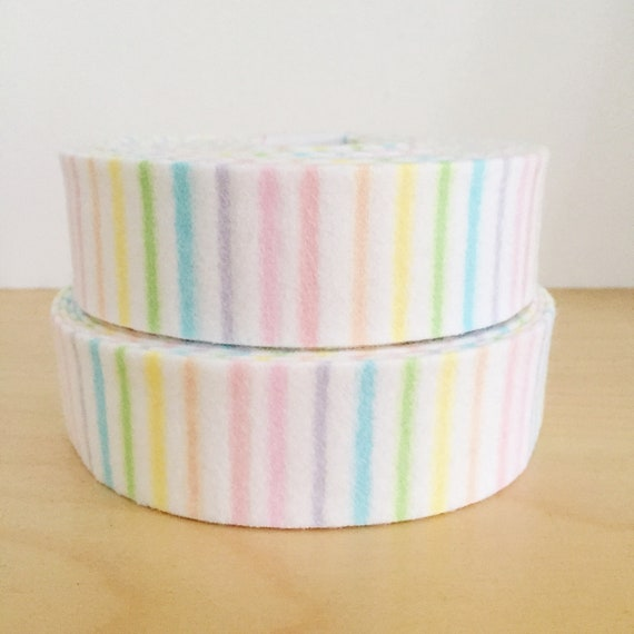 "Quilt Binding- Pastel Rainbow striped cotton flannel 1.25"" double-fold cotton quilt binding"