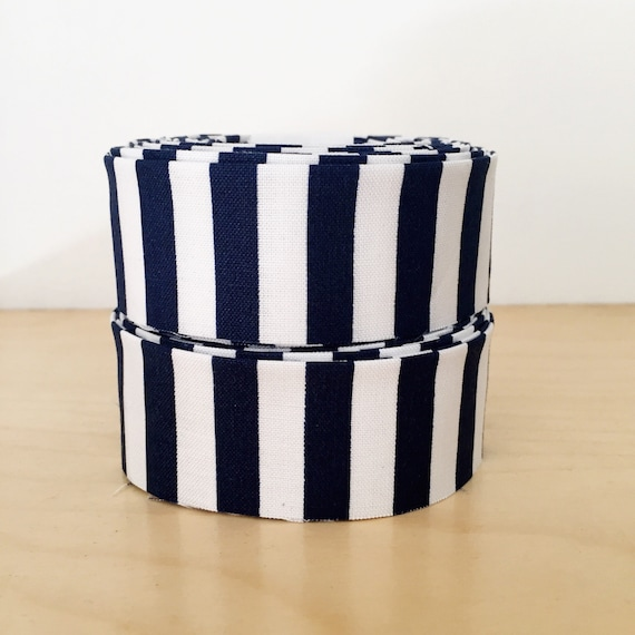 "Navy Blue and White striped Quilt binding- 1.25"" double-fold cotton"