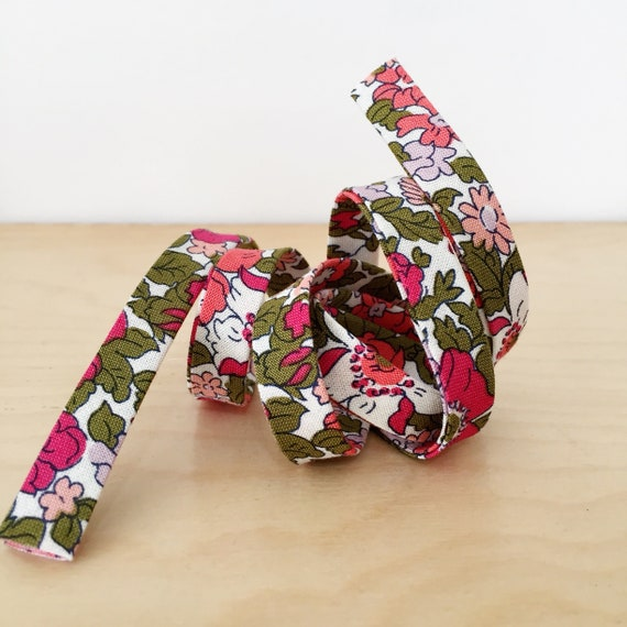 "Bias Tape- Liberty of London The Cottage Garden Cosmos Meadow Pinks 1/2"" double-fold binding- floral- 3 yard roll"
