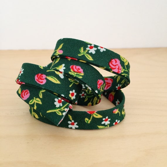 """Bias Tape in Heather Ross Trixie Mousies Floral in Green 1/2"""" double-fold binding- 3 yard roll"""