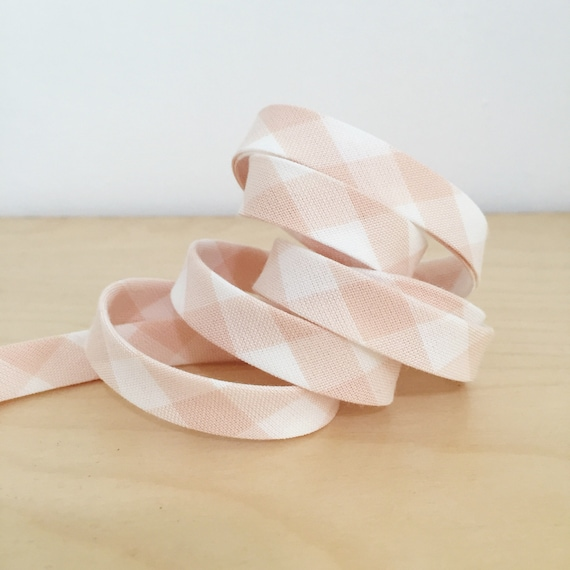 "Kaufman Lingerie Gingham Bias tape- 1/2"" double-fold binding in blush pink and white plaid check cotton- 3 yards"