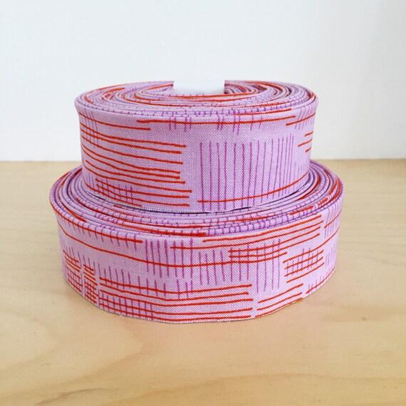 "Quilt Binding- Robert Kaufman Carkai Carolyn Friedlander 1.25"" double-fold cotton quilt binding- Purple and Red"