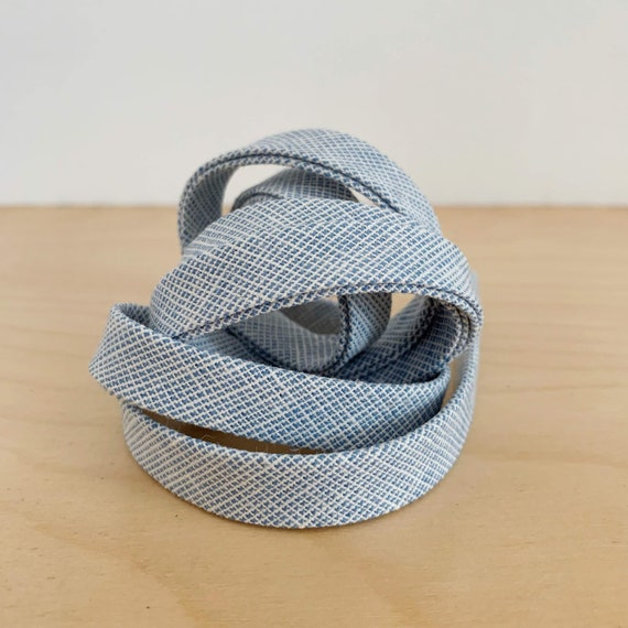 "Bias Tape- Robert Kaufman Essex Yarn-Dyed Homespun chambray 1/2"" double-fold binding- Paris Blue- 3 yard roll"