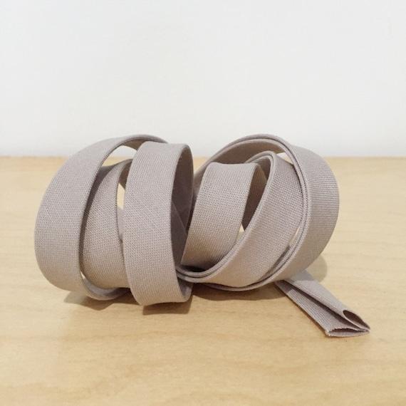 "Bias Tape in Kona Doeskin cotton 1/2"" double-fold binding- warm grey- 3 yard roll"