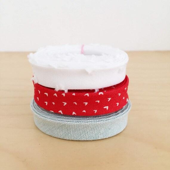 "Bias Tape 1-yard Sampler Pack 1/2"" double-fold cotton binding- 3 different fabrics"