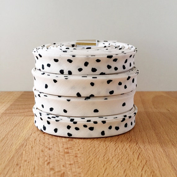 """Organic Cotton Bias Tape in Hello Ollie White and Black Polka Dot 1/2"""" double-fold binding in Nested Gathering- 3 yard roll"""