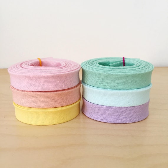 "Pastel Rainbow Bias Tape 1-yard Sampler Pack 1/2"" double-fold cotton binding- 6 different colors"