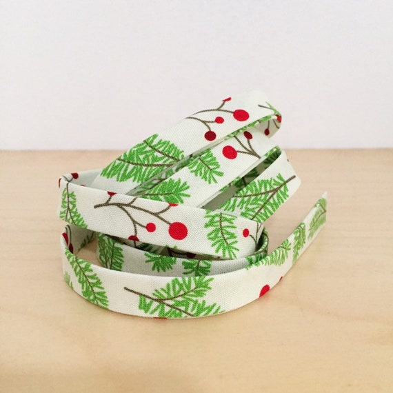 "Bias Tape Moda Jingle Birds holly branches 1/2"" double-fold bias tape- Christmas Holiday collection- 3 yard roll"