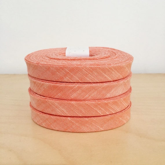 "Kaufman Manchester Yarn-Dyed Chambray 1/2"" double-fold Bias Tape in Peach- 3 yard roll"