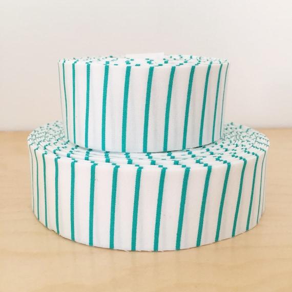 "Teal Aqua Stripe Skinny Striped Quilt binding- 1.25"" double-fold cotton"
