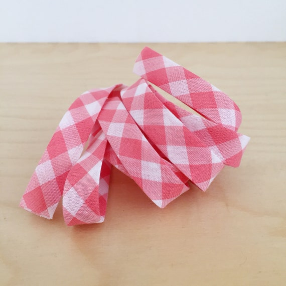 "Bias tape in coral pink gingham check plaid lightweight cotton lawn 1/2"" double-fold binding- 3 yard roll"