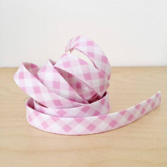 "Bias tape in woven lavender pink gingham check plaid cotton 1/2"" double-fold binding- 3 yard roll"