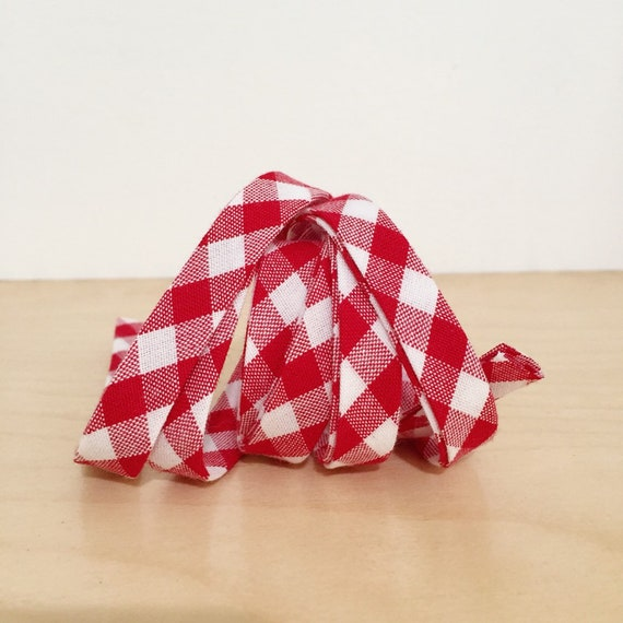 "Kaufman Gingham Bias tape- 1/2"" double-fold binding in red and white plaid check cotton- 3 yards"