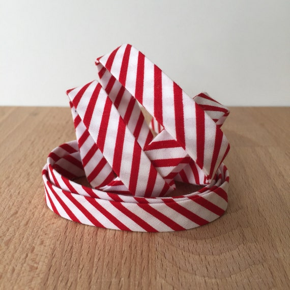 """Riley Blake Stripes White and Red Striped Cotton 1/2"""" double-fold bias tape- 3 yard roll"""
