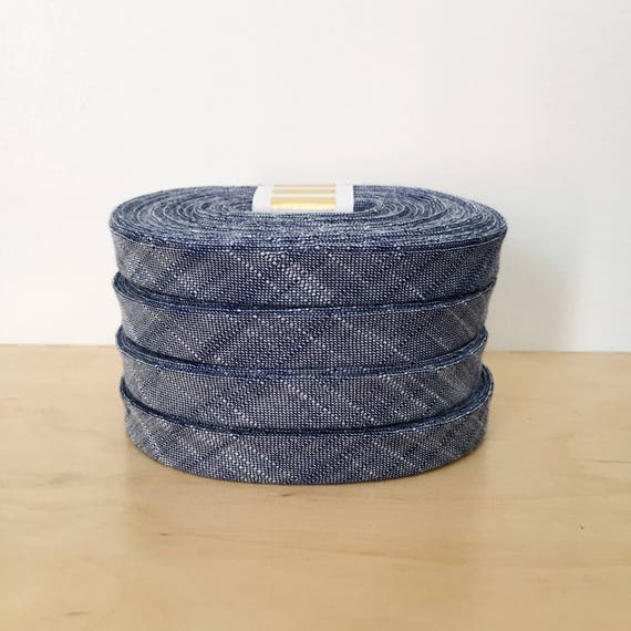 "Bias Tape Kaufman Manchester Yarn-Dyed Chambray 1/2"" double-fold binding in Denim- 3 yard roll"
