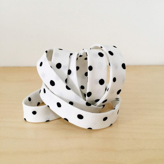 "Bias Tape in Sarah Golden's Around Town Small Dots in black and white 1/2"" double-fold cotton binding- 3 yard roll"
