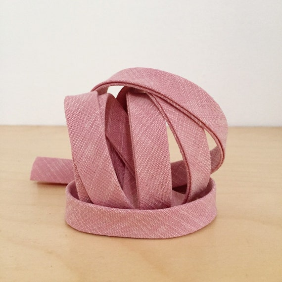 "Bias Tape in Yarn-Dyed Rose Chambray cotton 1/2"" double-fold binding- Dusty Pink- 3 yard roll"