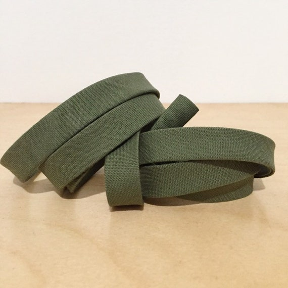 "Bias Tape in Kona O.D. Green cotton 1/2"" double-fold binding- Army green olive- 3 yard roll"
