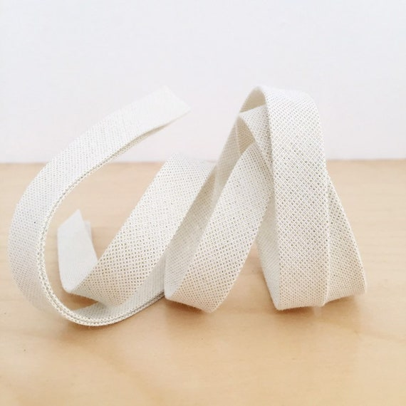"Bias Tape- Kaufman Moondust Metallic 1/2"" Double-fold Cotton binding- Ivory and Gold- 3 yard roll"