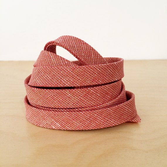 "Bias Tape- Robert Kaufman Essex Yarn-Dyed Dusty Rose and Metallic Gold Chambray 1/2"" double-fold binding- 3 yard roll"