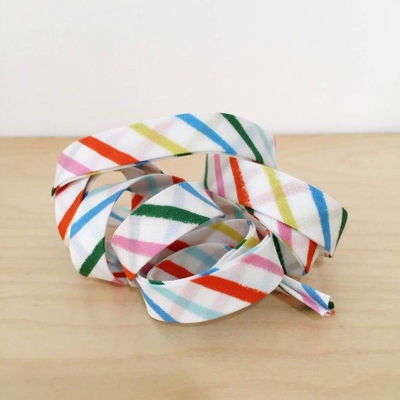 "Bias Tape- Cotton + Steel Rifle Paper Co Amalfi collection Happy Stripes cotton 1/2"" double-fold binding- 3 yard roll"