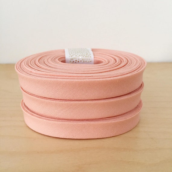 "Bias Tape in Kona Peach cotton 1/2"" double-fold binding- 3 yard roll"