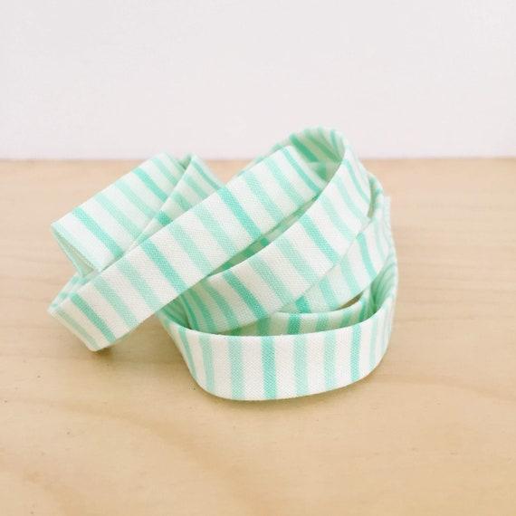 "Bias Tape- Moda Fabrics Hello Darling Mint Green Stripe cotton 1/2"" double-fold binding- 3 yard roll"