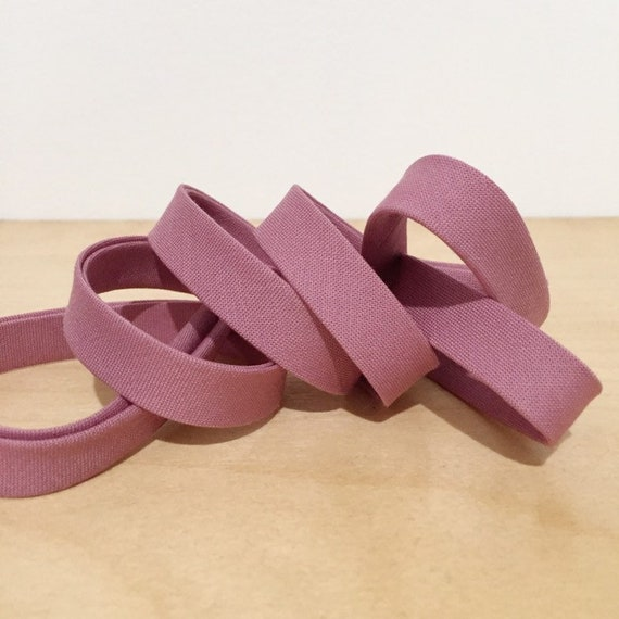 "Bias Tape in Kona Foxglove cotton 1/2"" double-fold binding- Mauve pink- 3 yard roll"