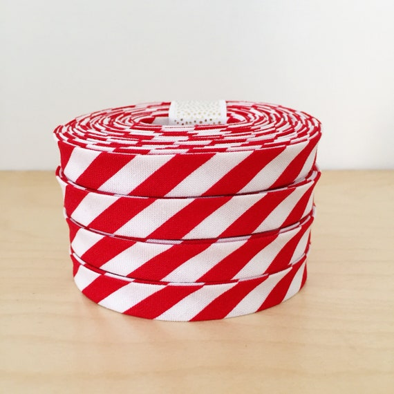 """Bias Tape in Michael Miller 1/4"""" red and white stripes- 1/2"""" double-fold binding- 3 yard roll"""