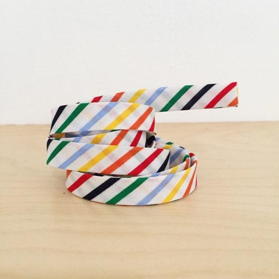 "Bias Tape- Seventies Rainbow Stripe lightweight cotton 1/2"" double-fold binding- 3 yard roll"