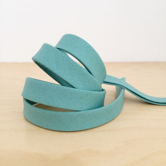 "Bias Tape- Cotton Supreme Solids Notting Hill 1/2"" double-fold cotton binding- blue green- 3 yard roll"