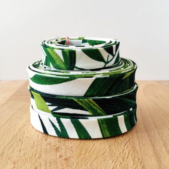 "Bias Tape- Tropical Palm Tree print cotton 1/2"" double-fold binding- Hoffman Fabrics- 3 yard roll"