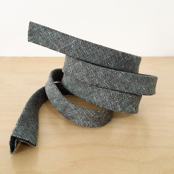 "Bias Tape- Robert Kaufman Essex Yarn-Dyed Shale Chambray 1/2"" double-fold binding- 3 yard roll"