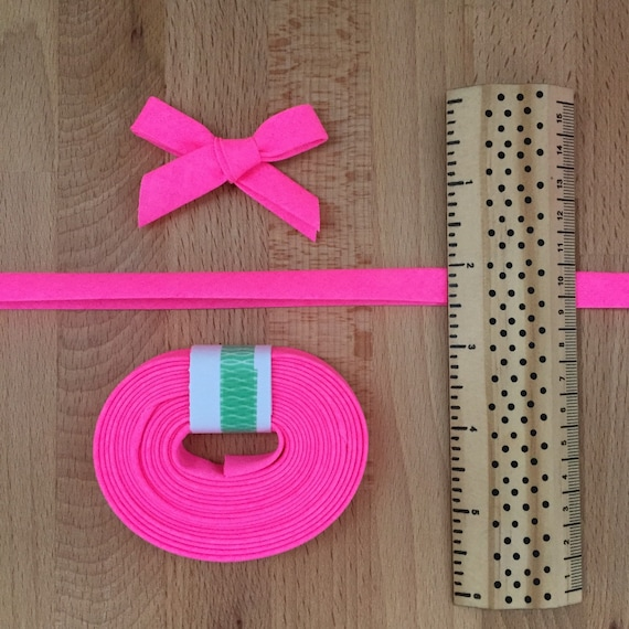 "Michael Miller Neon Pink cotton 1/2"" double-fold bias tape- Hot Fluorescent Bright Pink- 3 yard roll"