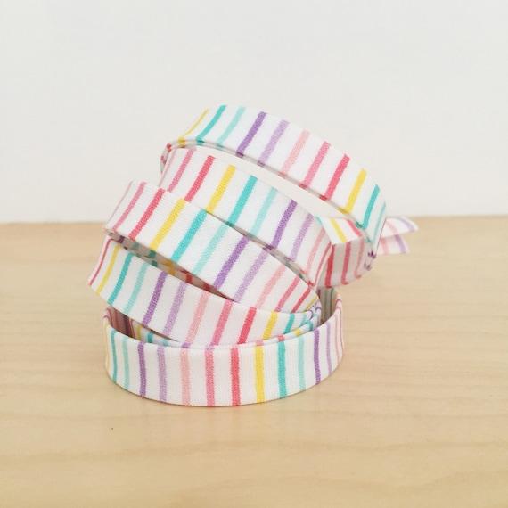 "Bias Tape- Kaufman Pastel Rainbow Stripe cotton 1/2"" double-fold binding- 3 yard roll"