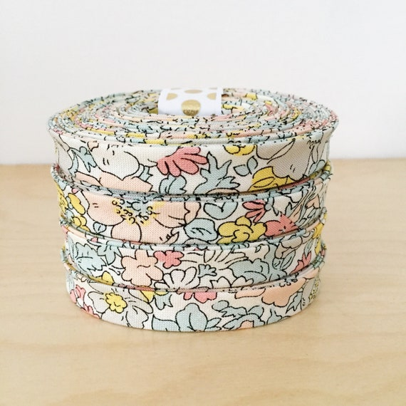 "Bias Tape- Liberty of London The Cottage Garden Cosmos Pastel 1/2"" double-fold binding- floral- 3 yard roll"